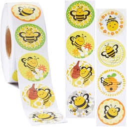 1000x Bumblebee Stickers for Kids, Party Favor Bag, Scrapbook, 1.5 inch 8 Design