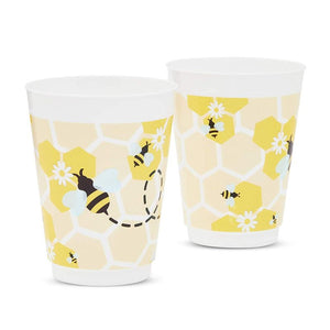 Reusable Plastic Bumble Bee Baby Shower Party Supplies Cups (16 Pack)