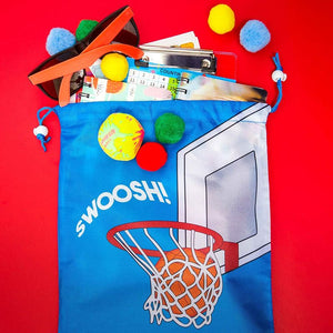 Basketball Drawstring Party Favor Bag for Kids (Blue, 12 Pack)