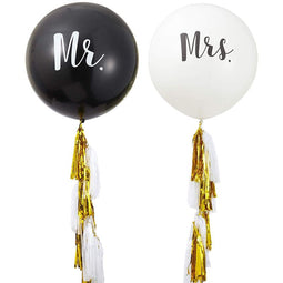 "2Pcs Jumbo Mr. & Mrs. Wedding Balloons 36"" with Tassel for Wedding Party Décor"
