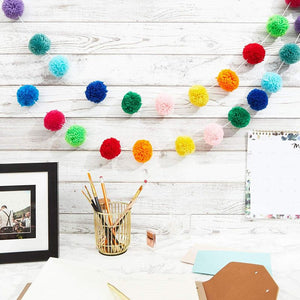 10ft Rainbow Pom Pom Felt Ball Banner Garland for Birthday Baby Shower