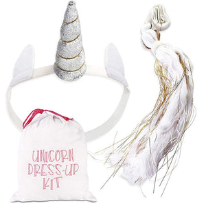 Girls Unicorn Dress-up Kit, Sliver Horn and a White Gold Tail in Drawstring Bag