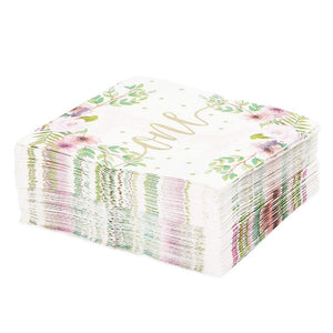 50 Paper Napkins, Watercolor Floral Girl Baby 1st First Birthday Party Supplies