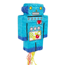 Blue Robot Pull String Pinata for Kids Birthday Party Supplies Decorations 16.6""