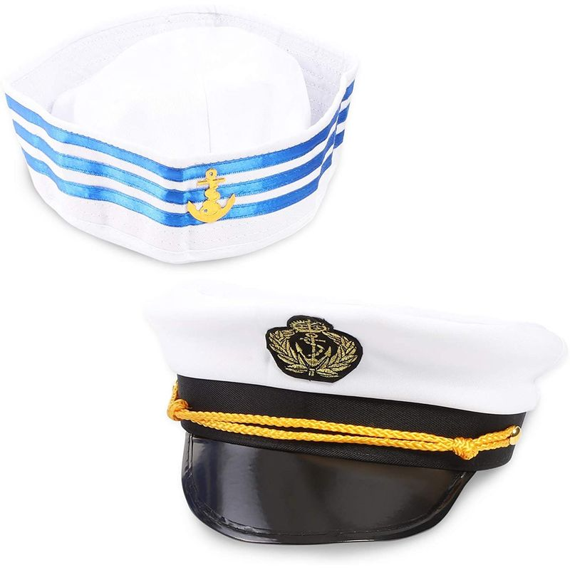 Pair of Yacht Captain and Sailor Hats, Halloween Nautical Themed Party Costume