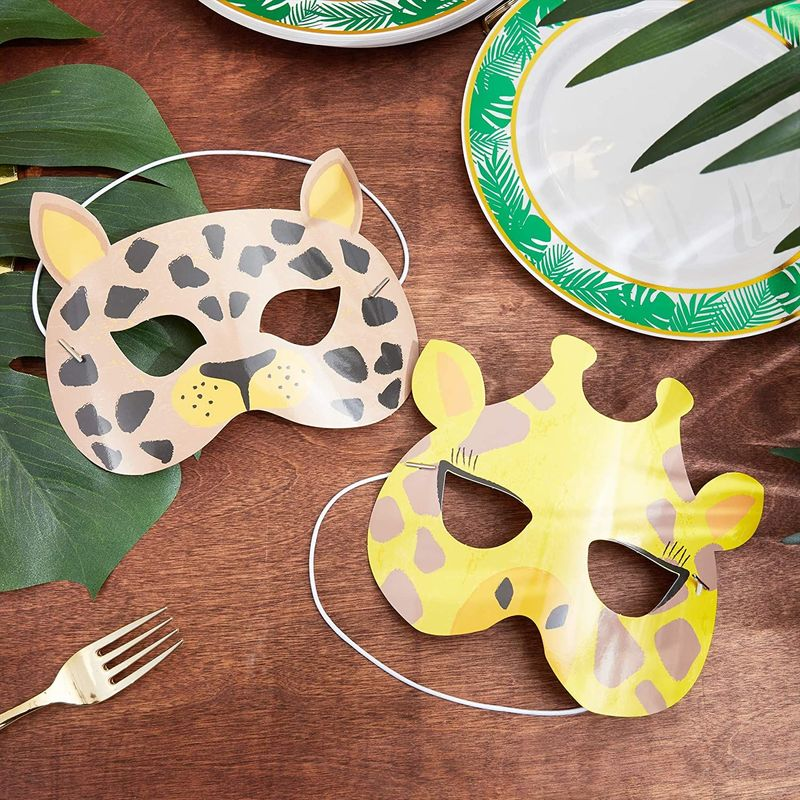 24 Pack Safari Jungle Animal Party Masks, Kids Birthday Favors Costume Dress Up