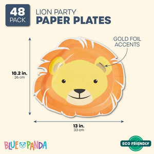 48 Party Paper Plates Safari Jungle Animal Theme Birthday Supplies Lion 10.2 in.
