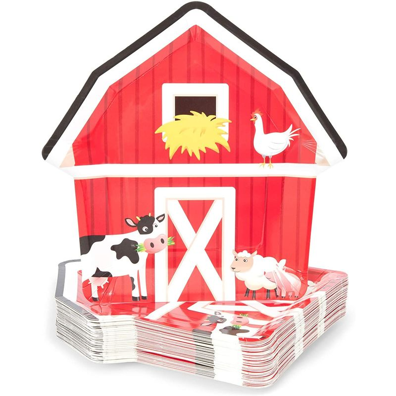 48 Farm House Party Paper Plates Barnyard Animal Birthday Supplies Baby Shower