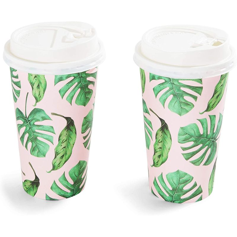 48x 16oz Hot Beverage Disposable Paper Coffee Cups with Lids, Hawaiian Tropical