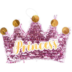 Small Princess Crown Pinata for Girls Birthday Party (16 x 10.5 in, Hot Pink)