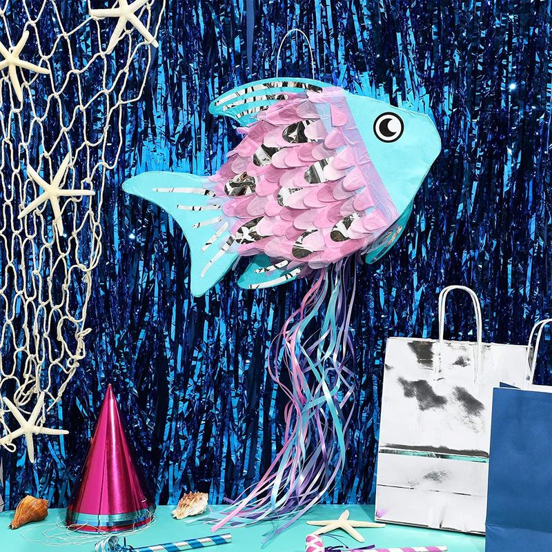 Cute Fish Pull String Pinata for Ocean Under the Sea Birthday Party Supplies 17""