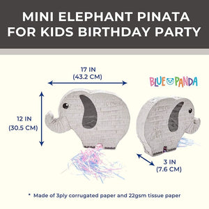 Elephant Pull String Pinata for Gender Reveal, Kids Birthday Party Supplies 17""