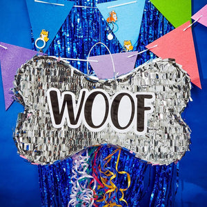 "Dog Bone Pull String Pinata for ""Woof"" Puppy Birthday, Pet Party Supplies 16.8"""