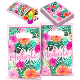 100pcs Mahalo Party Favor Goodie Bag for Hawaiian Luau Birthday Treat Gifts 9.4""