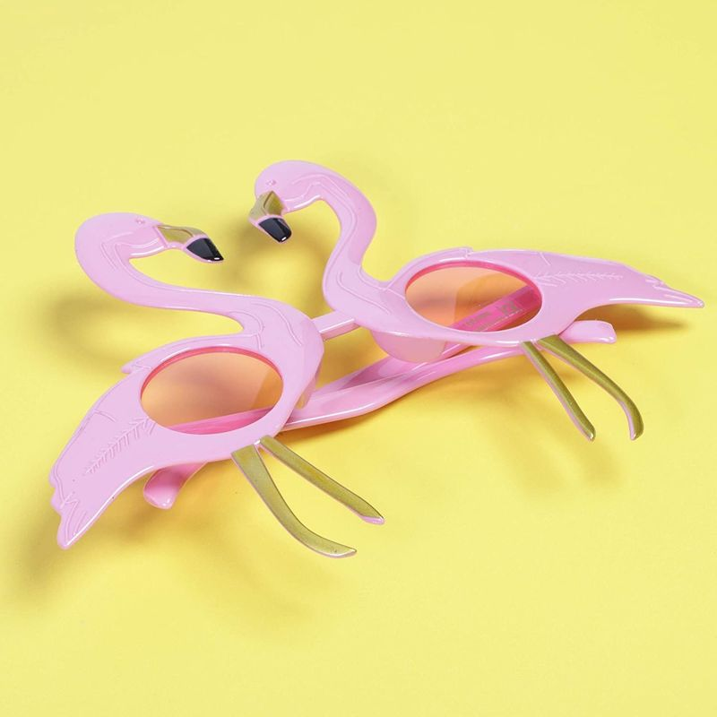 6 Pairs Novelty Party Sunglasses, Flamingo Glasses Hawaiian Luau Party Favors