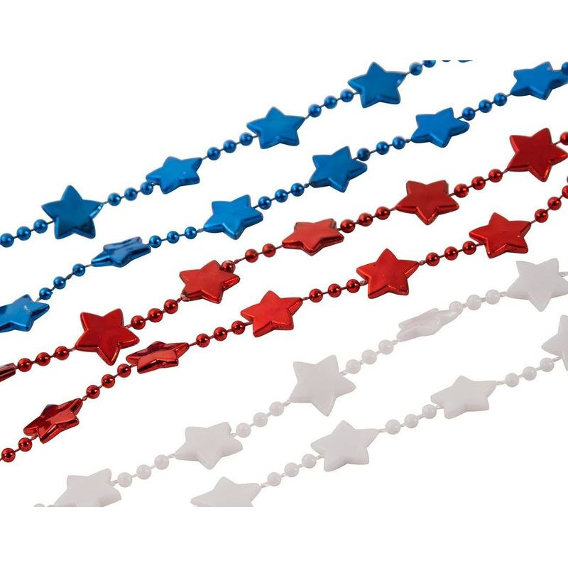 Red, White, and Blue Beaded Necklaces, Patriotic Party Supplies (24 Pack)