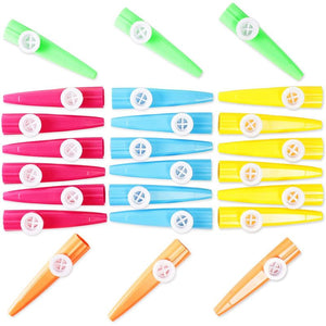 24pc Kazoo Musical Instruments, Kids Birthday School Party Favors 5 Colors 4.5""