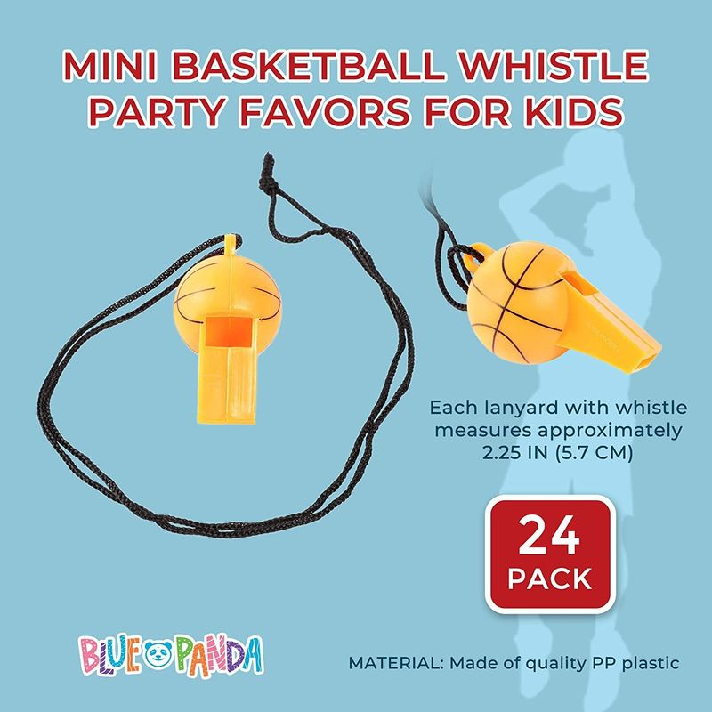 24 Pack Mini Basketball Whistles for Sports Theme Birthday Party Favor Supplies