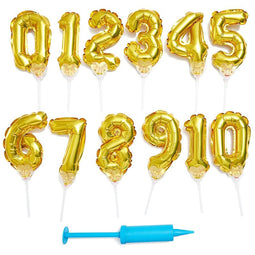 12pc Gold Foil Balloon Number 0-9, Cake Toppers for Kids Birthday Party Supplies