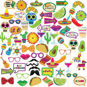 Cinco de Mayo Fiesta Photo Booth Prop Kit (72 Pieces)