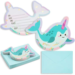 "36pcs Narwhals Kids Birthday Party Fill-in Invitations with Aqua Envelopes 5""x7"""
