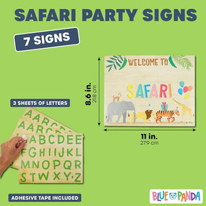 7pc Jungle Safari Animal Kids Party Welcome Signs w/ Alphabet Sticker Decoration