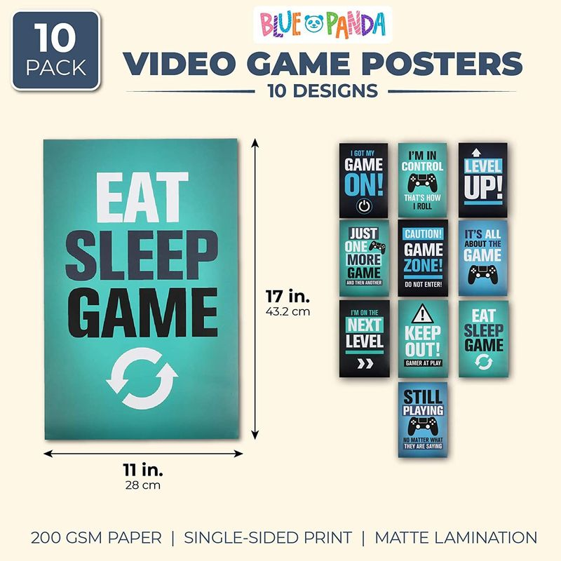 Video Game Posters in 10 Designs (11 x 17 Inches, 10 Pack)