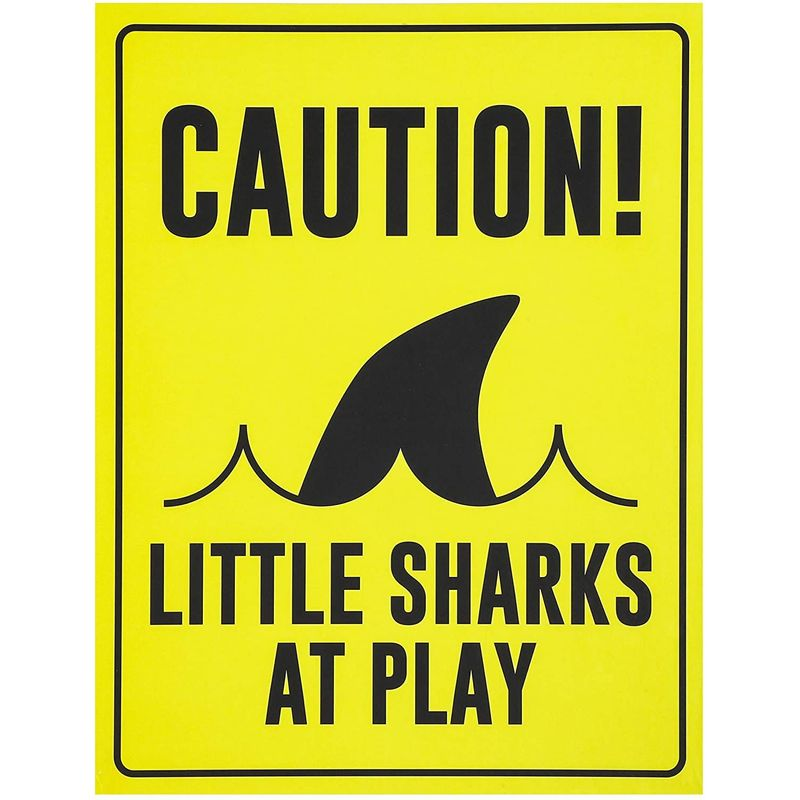 6pcs Shark Zone Party Signs for Boys Kids Ocean Pool Birthday Decorations Yellow