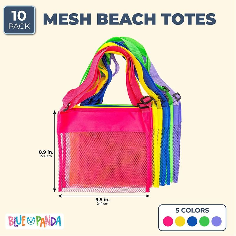 "10-Pack Mesh Beach Bags with Adjustable Tote Straps in 5 Colors (9.5 x 8.9"")"