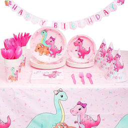 Pink Baby Dinosaur Party Supplies for Girl, Serves 24 (195 Pieces)