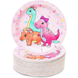 Pink Dinosaur Party Supplies, Paper Plates (9 Inches, 80 Pack)