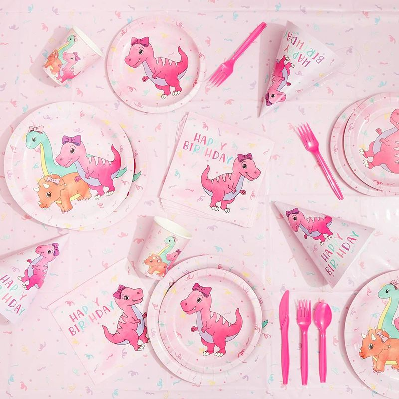Bulk 80 Pink Dinosaur Party Paper Plates Girl Baby Shower Birthday Supplies 9in