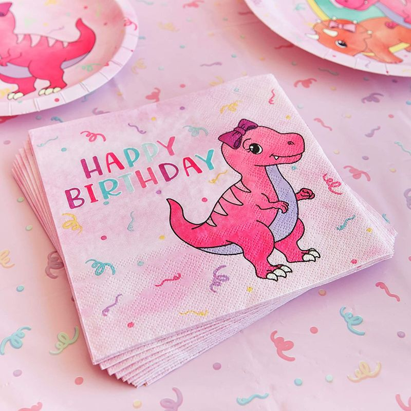 Pink Dinosaur Party Supplies, Paper Napkins (6.5 x 6.5 Inches, 100 Pack)