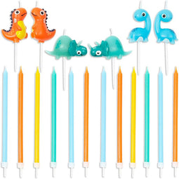3D Dinosaur Cake Topper with Thin Candles in Holders (18-Pack)