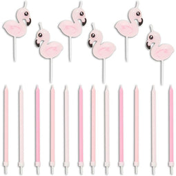 18x Flamingo Pink Birthday Cake Candles w/ Holders Cupcake Topper Girl 1st Party