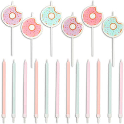 18x Donut Pastel Birthday Cake Candles w/ Holders Cupcake Topper Girl 1st Party