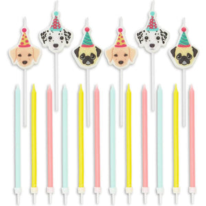 18x Puppy Dog Birthday Cake Candles w/ Holders Cupcake Topper Kid Girl Boy Party
