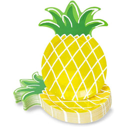 48 Yellow Pineapple Party Paper Plates Luau Birthday Baby Shower Supplies 10 in.