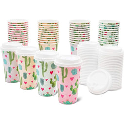 48x Cute Cactus Insulated Disposable Paper Coffee Cups with Lids for Party 16oz