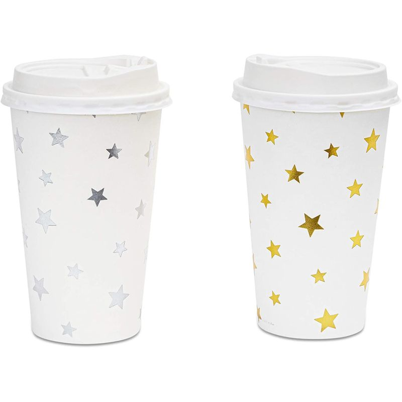 48x Cute Insulated Disposable Paper Coffee Cups with Lids Foil Stars Design 16oz