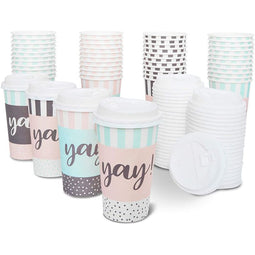 48x Yay! Decorative Insulated Disposable Party Paper Coffee Cups with Lids 16oz