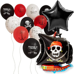 15pc Skeleton Pirate Ship Latex Balloons for Birthday Party Supplies Decorations
