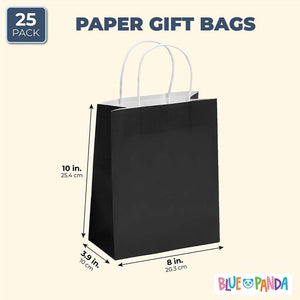 "25pcs Black Kraft Paper Gift Bags, Party Favor Bags with Handles, 8""x3.9""x10"""