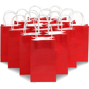 "25pcs Red Kraft Paper Gift Bags, Party Favor Bags with Handles, 5""x3.15""x9"""