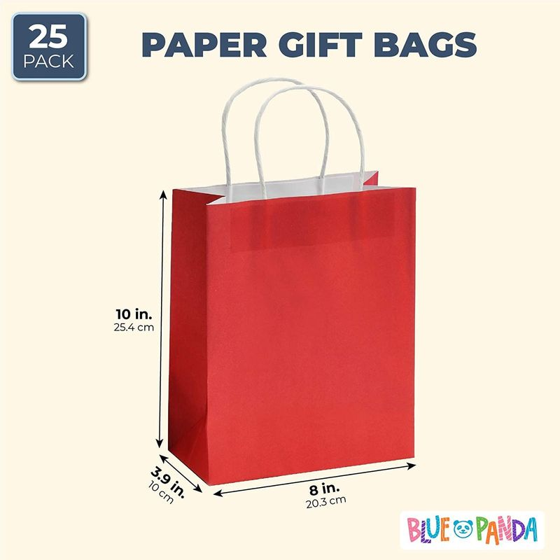 "25pcs Red Kraft Paper Gift Bags, Party Favor Bags with Handles, 8""x3.9""x10"""