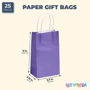 "25pcs Purple Kraft Paper Gift Bags, Party Favor Bags with Handles, 5""x3.15""x9"""