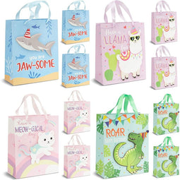 12 Pack Kids Animal Birthday Gift Bags for Baby Shower & Party, 4 Designs