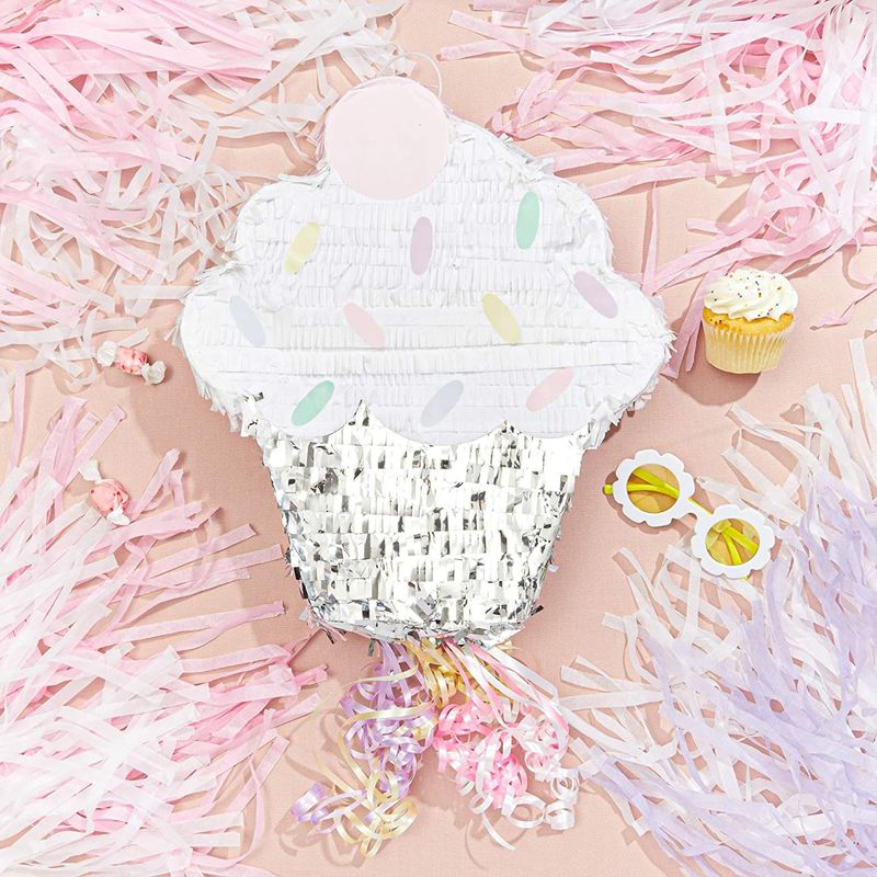 Cupcake Pull String Pinata for Girl Baby Shower Kids Birthday Party Supplies 15""