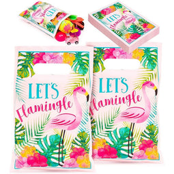 100 Pack Flamingo & Luau Party Favor Goodie Bags for Tropical Weddings Party
