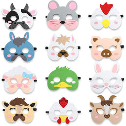 12x Farm Animal Masks Party Favors Kids Farmhouse Birthday Classroom Supplies